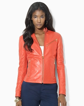 Lauren Ralph Lauren Colored Leather Jacket | Bloomingdale's
