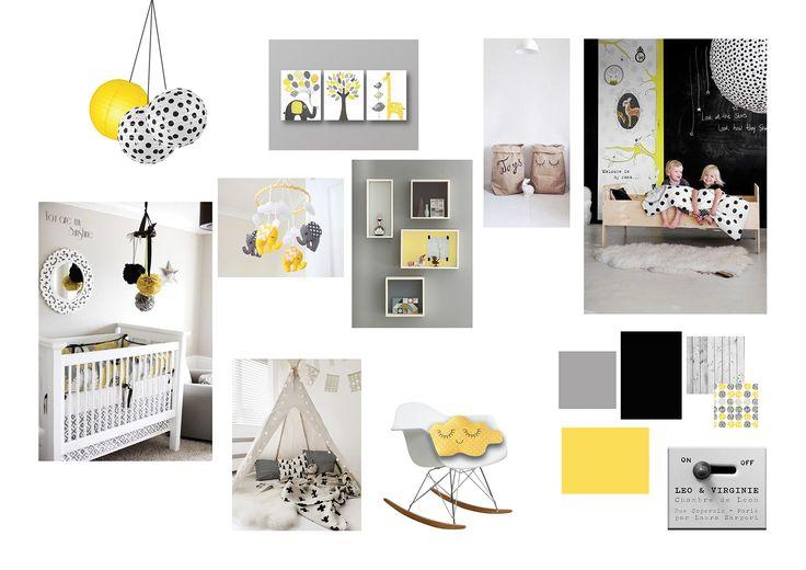 Planche d 39 ambiance chambre d 39 enfant jaune noir gris blanc gar on laura sarperi technique for Chambre garcon jaune et grise