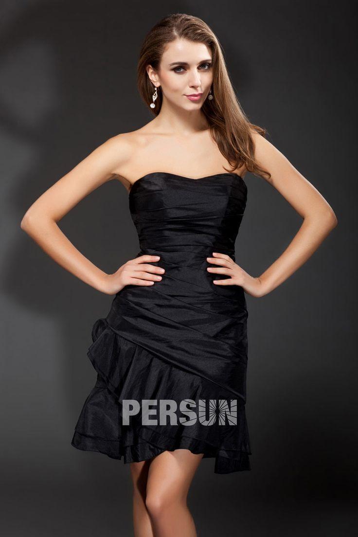 #Vestido de #Cóctel Corto Negro #Sexy de Tafetán sin Mangas Volantes #Escote #Barca - Persun.es