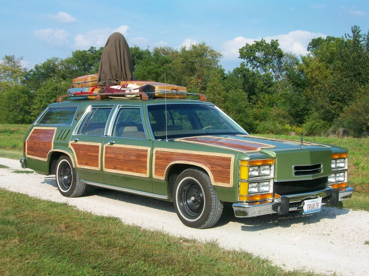 """The Grizwald's Family Truckster- started life as an early 80's Ford LTD Country Squire 1979 Ford LTD Wagon Used in National Lampoon's Family Vacation. """"Ed, uh... this is not the car I ordered. I distinctly ordered the Antarctic Blue Super Sports Wagon with the C.B. and optional rally fun pack."""" """"You didn't order the Metallic Pea?"""""""