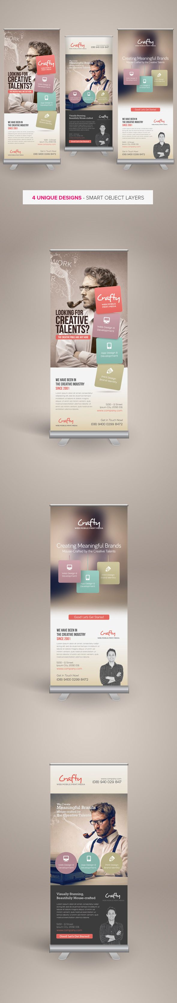 Creative Design Agency Roll-up Banners are design templates created for sale on Graphic River. Download: http://graphicriver.net/item/creative-design-agency-rollup-banners/5899639?r=kinzi21