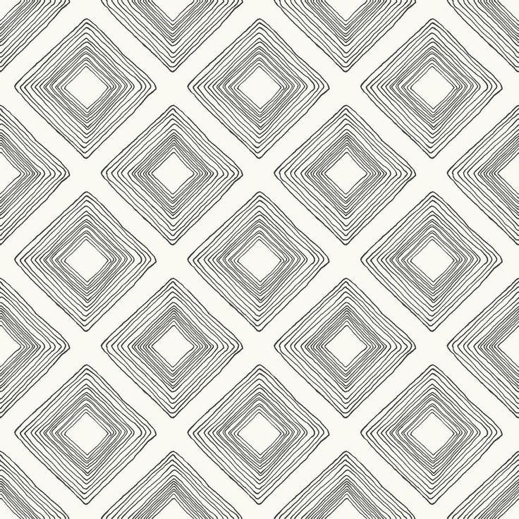 Magnolia Home by Joanna Gaines 56 sq.ft. Diamond Sketch Wallpaper, Black on White