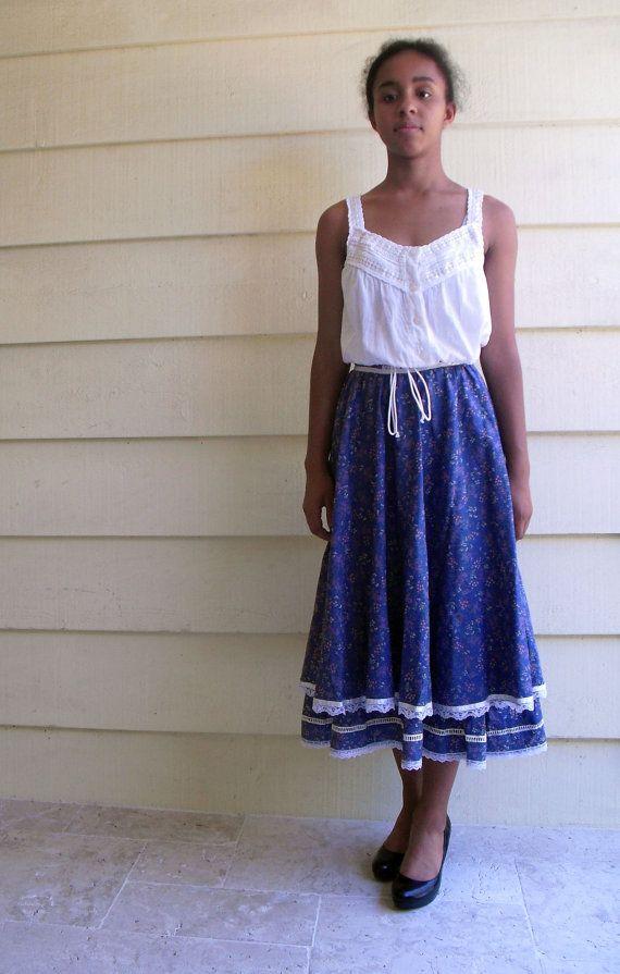 Vintage gunne sax stijl rok jurk 70 's bloemen door MindfulGrace