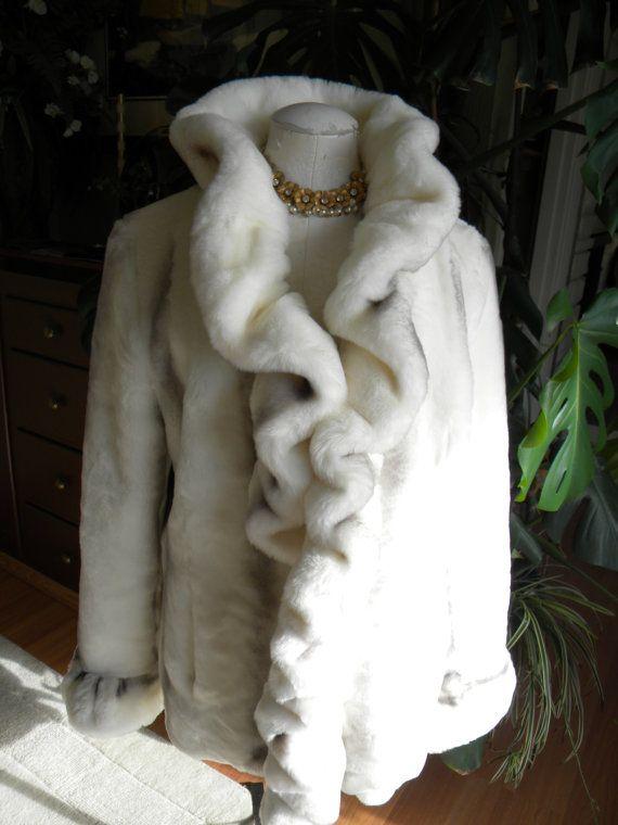 Ravishing in ruffles faux chinchilla fur coat by VerbenaVintage, $110.00