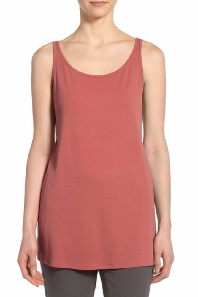 c3a49631306f0b $148 Eileen Fisher Sandstone Pink Silk Jersey Scoop Neck Tank L 12 14 NEW  E473 #EileenFisher #KnitTop #Casual
