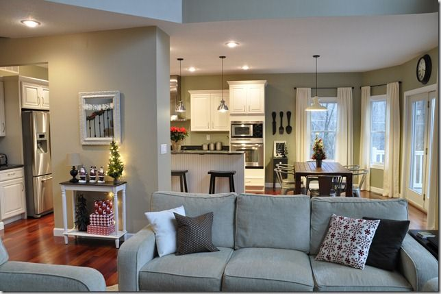 another example with a half wall open living room/ kitchen