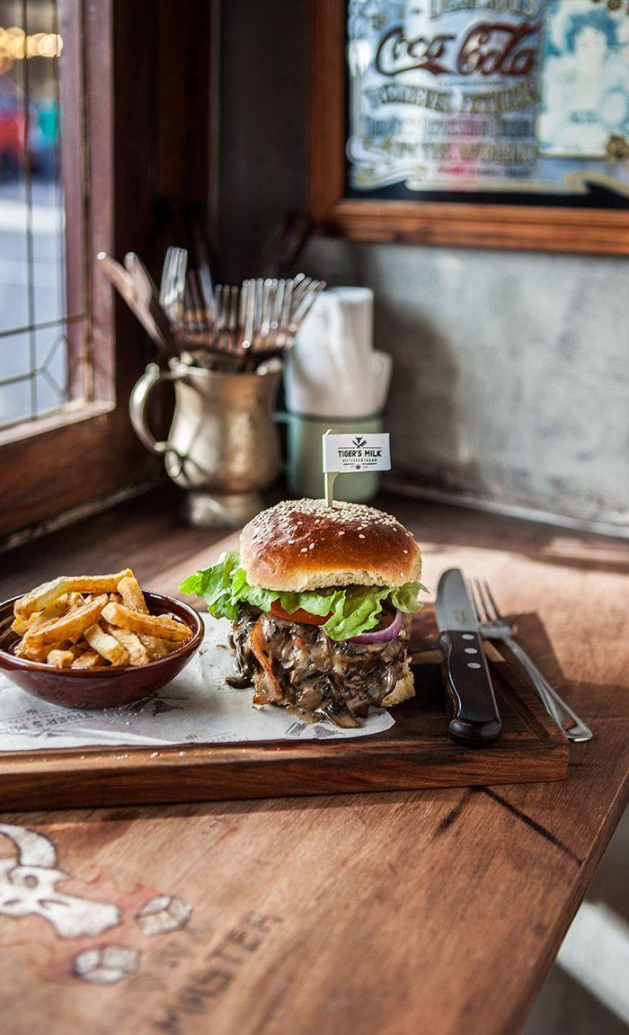 The mushroom burger at Tigers Milk, Long Street, Cape Town: