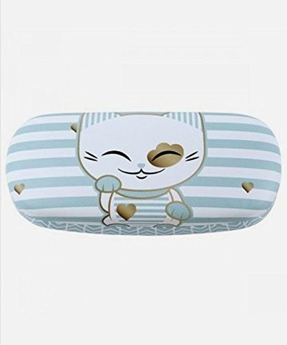 """Etui à lunettes rigide chat porte bonheur Mani the Lucky Cat vert d'eau blanc: Au Japon, """"Maneki neko"""" est réputé porter chance, bonheur et…"""