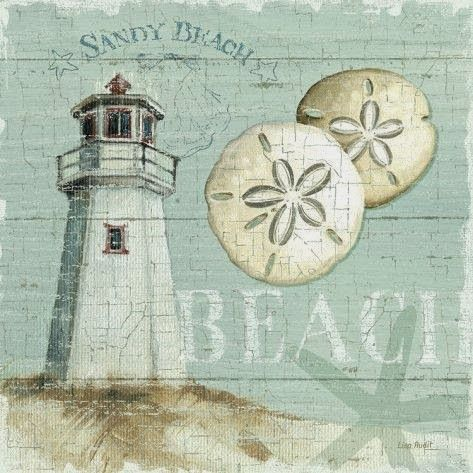 Lighthouse at the Beach Art Print by Lisa Audit.   Two of my favs - lighthouses  sand dollars!