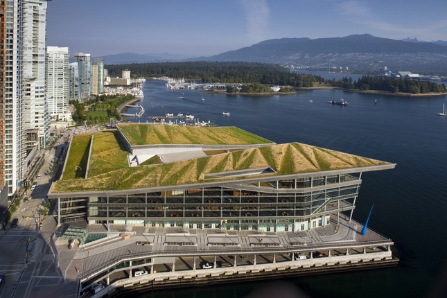 The American nomination for the 2010 Urban Land Institute's Award of Excellence, the 1.2-million-square-foot Vancouver Convention Center West establishes an important link in the city's park system, connecting to the existing harbor greenbelt with a major civic plaza and a six-acre living roof—one of the largest in Canada.  Photo by: Miyoko Ohtake