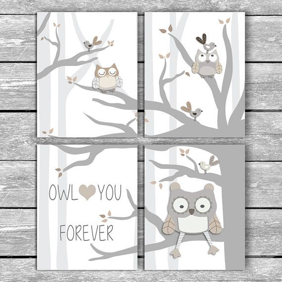 Set of 4 Owl Love You Forever Printables by MyPrintBoutique