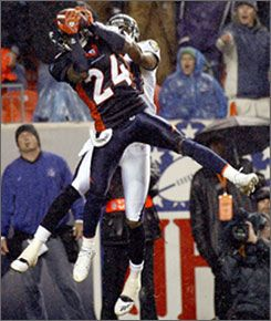 Champ Bailey picked off a pass in the second quarter Monday night. Bailey and the rest of Denver's defense have allowed just one touchdown in four games.