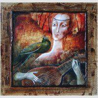 Název díla: Hudební motiv,  autor: Jitka Gavendová, technika: akryl - náhled obrázku