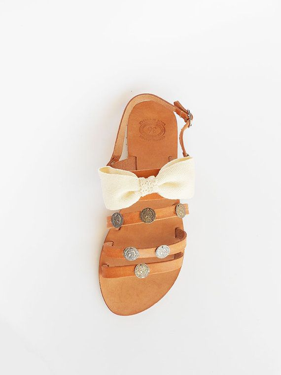 Leather Sandals Ivory Sandals Bow SandalsBeige by ecreation