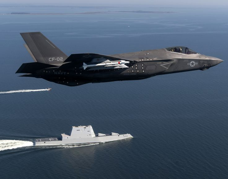 USS Zumwalt & F-35C from test evaluation squadron NAS Patuxent River leaving Baltimore Harbor from 2016 Fleet Week