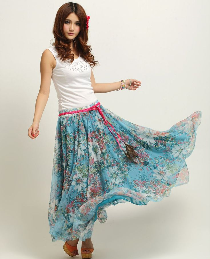 Floral Chiffon Long Skirt | Dresscab