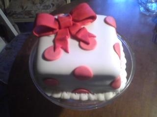 Red Velvet Minnie Mouse Cake with Cream Cheese Frosting and Fondant.