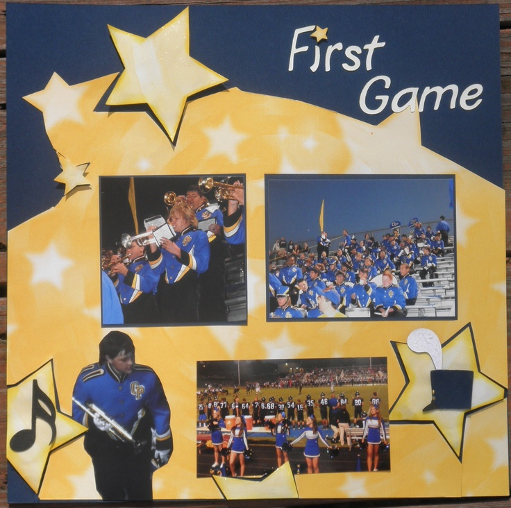Marching band first game layout scrapbook com