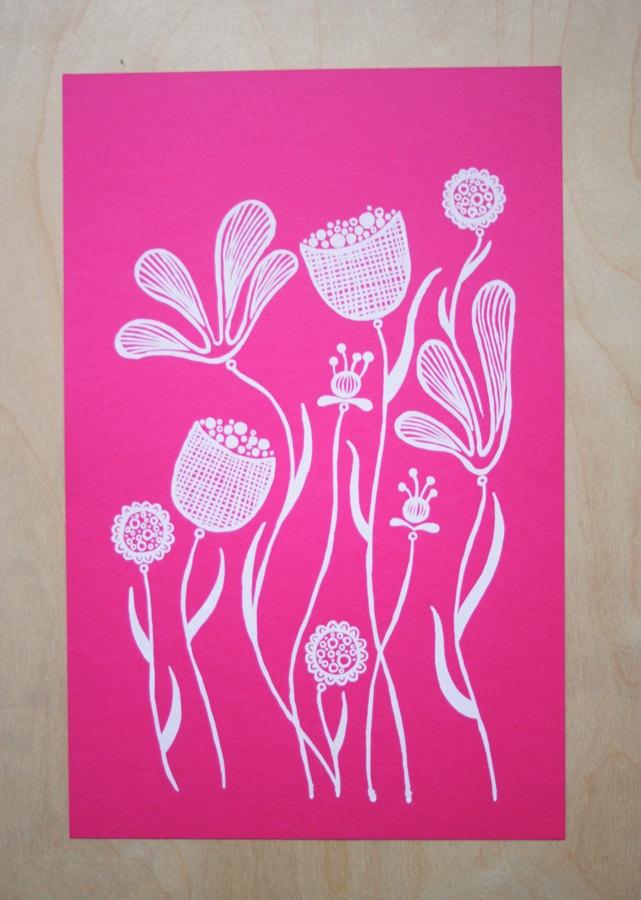 Floral Screen Print Magenta. 15.00, via Etsy. Screen