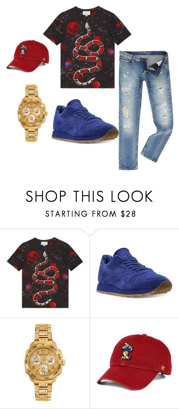 """""""Average Joe"""" by nickid89 ❤ liked on Polyvore featuring Gucci, Reebok, Versace, '47 Brand, Calvin Klein, men's fashion and menswear"""