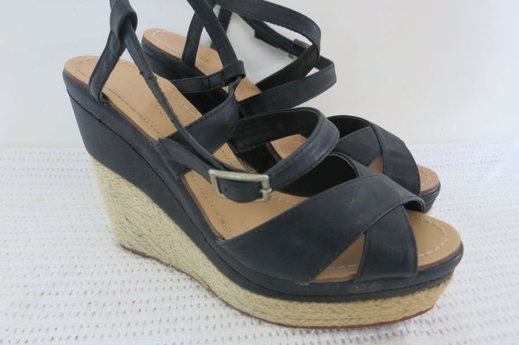 Court Couture Ladies Shoes Size 10 Black Wedge Heel