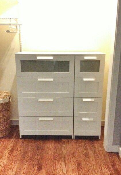 IKEA narrow 4-drawer Brimnes dresser and wide 4-drawer Brimnes dresser