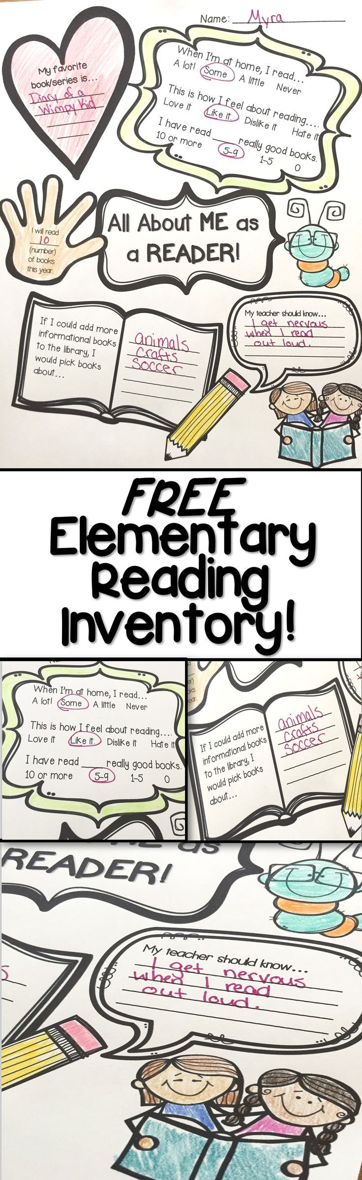 This informal reading inventory can tell me so much about a student!  This free printable activity is a quick way to gauge the elementary readers in your class, and can be used as a fun coloring activity as well!