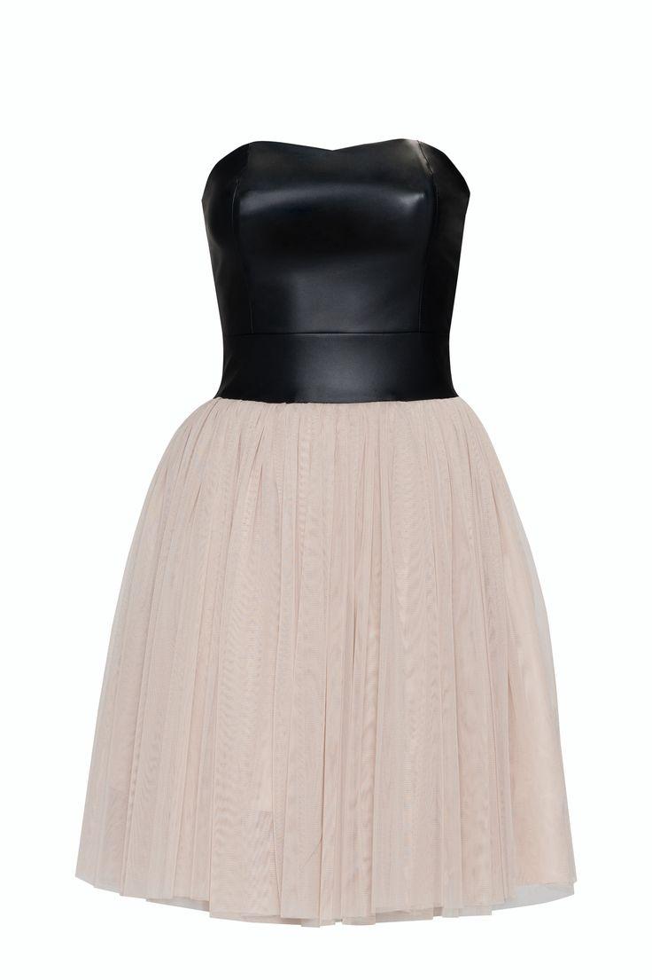 Tiulowa sukienka ze skórzanym gorsetem KM120 , Sukienki - Kartes-Moda