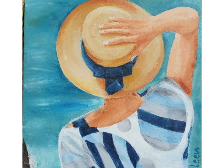 Woman with hat - oil painting