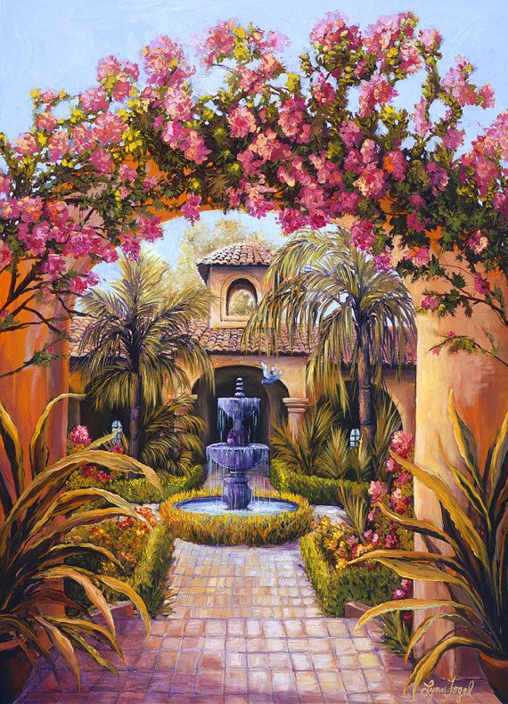 Fountain Art Mediterranean Art Canvas Print Gallery Wrap Canvas Bougainvillea Spanish
