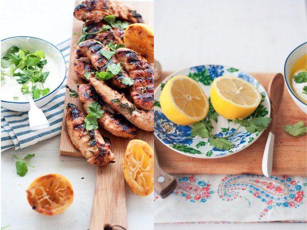 Курица, маринованная с кинзой<br>#Курица@finnishfood<br><br>1 кг куриного филе {около 15 штук} <br>1 чашка меда<br>4 ст.л. оливкового масла <br>4 ст.л. соевого соуса<br>3 лимона (сок + цедра)<br>6 зубчиков чеснока, измельчить <br>2 ч.л. морской соли и перца + еще немного по вкусу <br>2 перца чили..