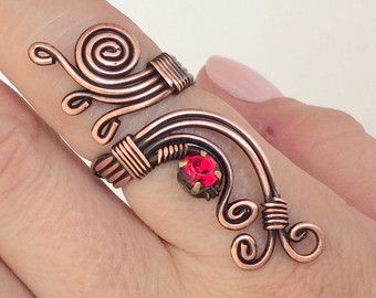 copper wire with navy blue crystal stone ring wire by BeyhanAkman