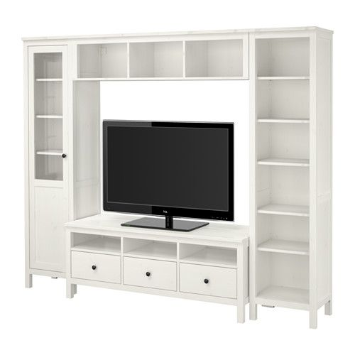 "$656, 97.4x77.5.....HEMNES TV storage combination - white stain - IKEA.....OR put dbl wide open bookshelves on ea. side, 129.5""long, $520 total; OR put single open open bookshelves on ea. side.,97.4""long, $460 total OR use side table somewhere"