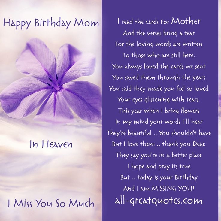 Happy Birthday Dear Mother In Heaven Cards