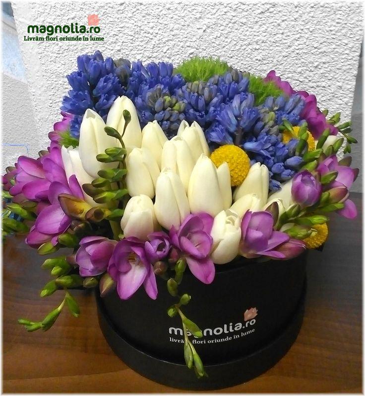 Aranjament parfumat cu frezii, lalele si zambile. Flower arrangement with freesias, tulips and hyacinth