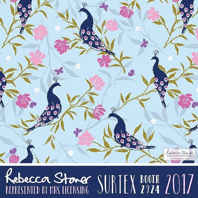 Paradise Garden surface pattern by Rebecca Stoner  #surtex #surfacepattern #peacocks #surtex2017