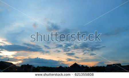 Stock Photo of Texture of bright evening sky during sunset