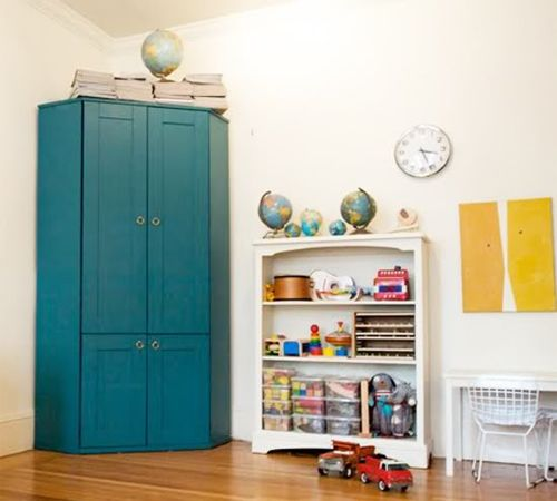 ikea corner office cupboard painted blue with brass nobs added
