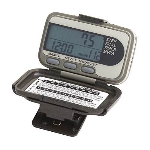 32-Pc MVPA Accelerometer Class Pack. Includes 32 accelerometers and 32 unit capacity carrying case. Steps, distance, calories, exercise time, MVPA, clock, speed, seven days memory, piezoelectric motor, clam shell, alligator clip, loss prevention strap, user changeable battery and automatic shut-off when inactive to save battery life. No moving parts and no clicking sound. Tests more accurate than spring-levered and spring-activated pedometers. Keeps its accuracy even when tilted.