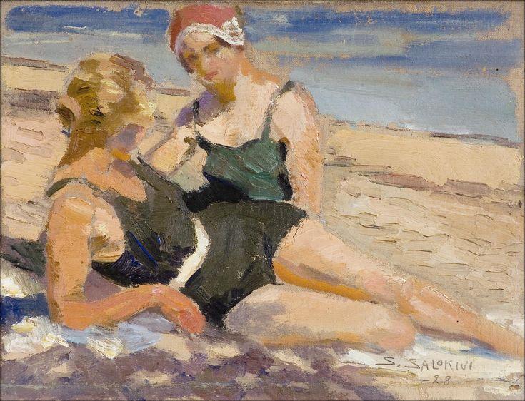 santeri salokivi | Santeri Salokivi - TYTÖT RANNALLA, 1928, oil on panel