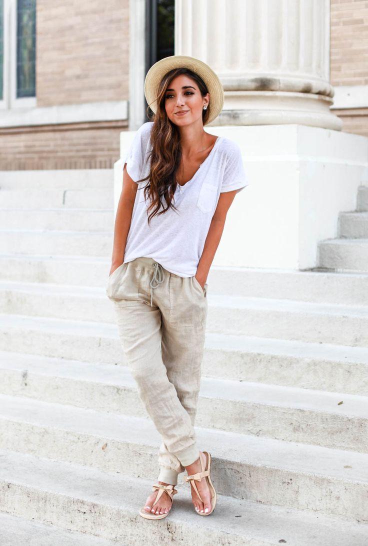 Casual chic | Linen pants, white t-shirt, camiseta branca e calça de linho, look para o verão