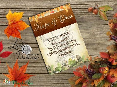 Őszi Esküvői meghívó, Rusztikus Esküvő, Vintage Esküvő, Bohém Esküvői képeslap, rusztikus, őszi levelek, Esküvő, Naptár, képeslap, album, Meghívó, ültetőkártya, köszönőajándék, Képeslap, levélpapír, Meska