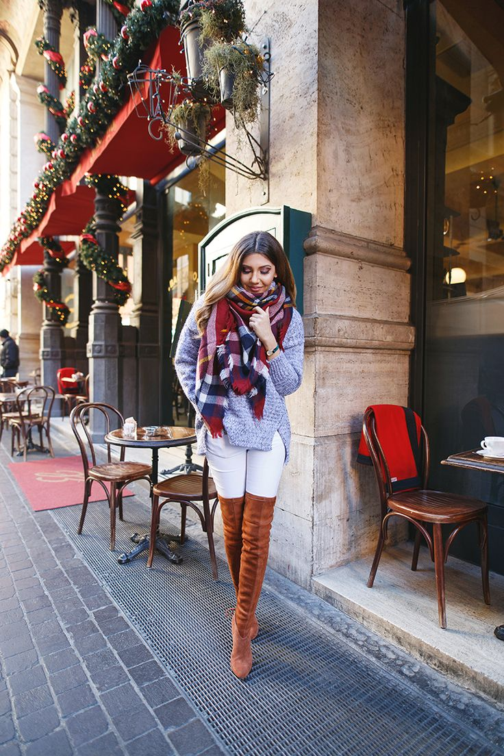 Winter look wearing tartan scarf, grey sweater and brown over the knee boots, here, on my blog: http://larisacostea.com/2016/12/cluse-la-vedette/