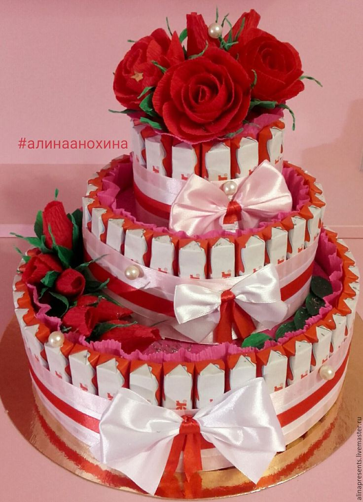Купить Сладкий торт из киндер шоколада - комбинированный, торт из киндеров, сладкий подарок, сладкий букет
