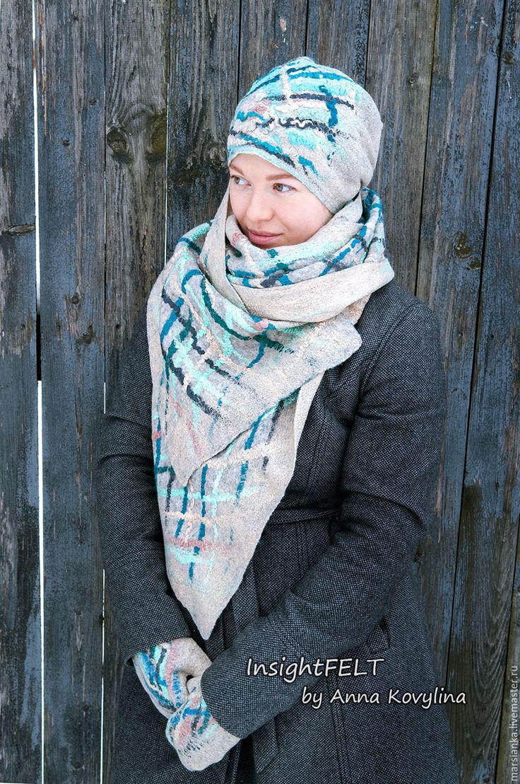 """Купить Комплект """"Серпантин"""" - войлочные шапочка, шарф и варежки. - бирюзовый, в полоску, серпантин, зигзаг"""