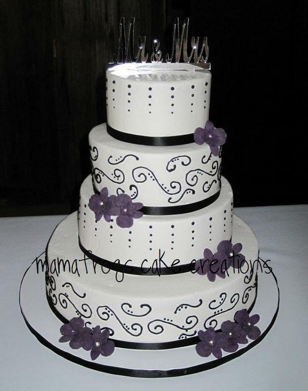 purple and black wedding cakes | Beautiful black, white and purple wedding cake from Mon Petite Cake ...