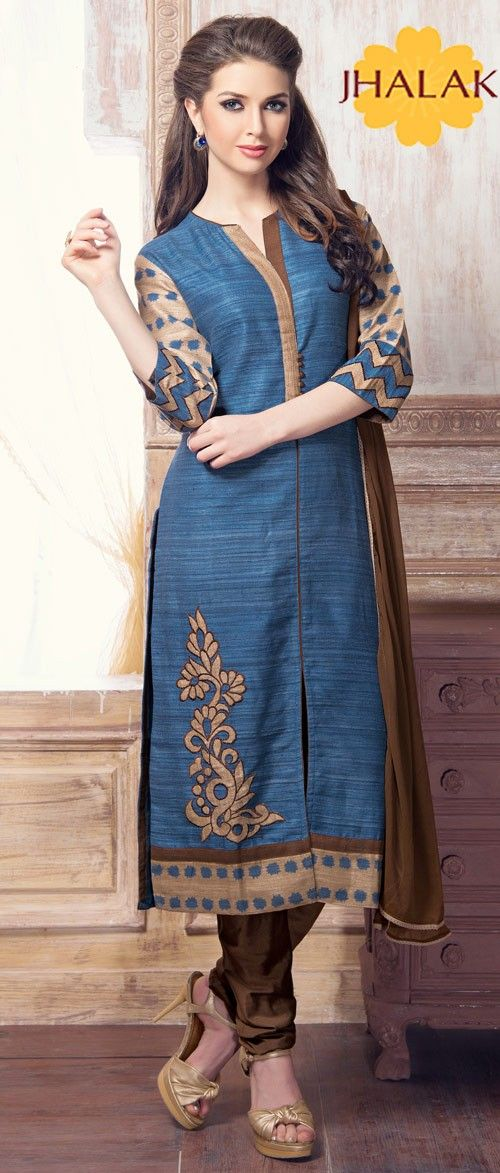 BLUE AND BROWN COLOR CHUDIDAR SUIT H-315