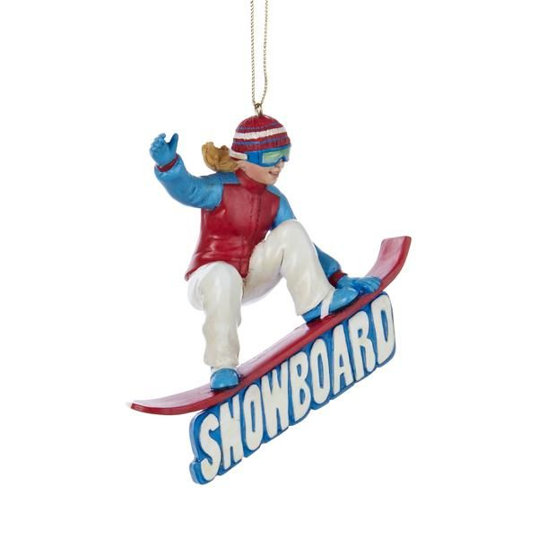 Snowboarding Girl Christmas Ornament