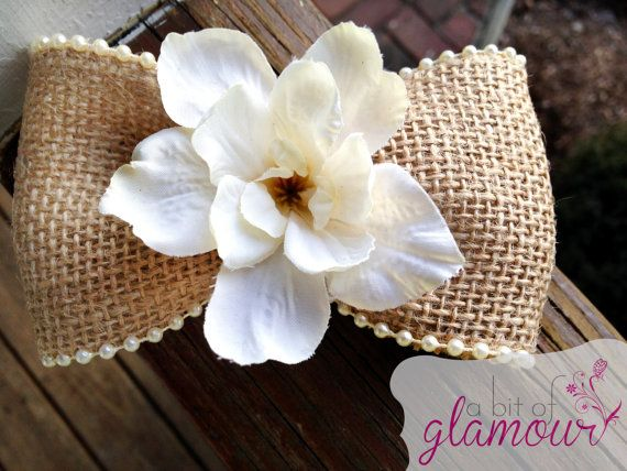 Burlap Hair Bow with Pearl Trim and White Flower by abitofglamour, $9.50
