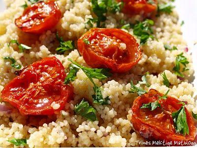 Couscous-salat med rødløk, sitron, urter og ovnsbakte tomater - TRINEs MATBLOGG